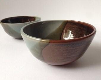 Simply Glazed Set of 2 Nesting Bowls - Handmade Ceramic Bowls - Blue + Brown + Burgundy