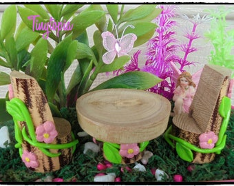 Miniature Wooden Table & Chairs~Fairy Garden Setting