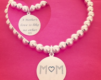 Sterling Silver 'A Mother's Love is Like No Other' Charm Bracelet