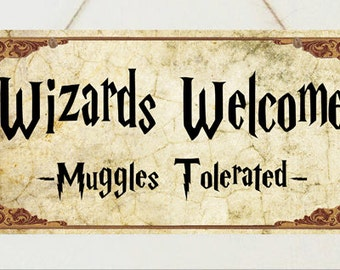 Harry Potter Sign Wizards Welcome Plaque Gift Christmas Present