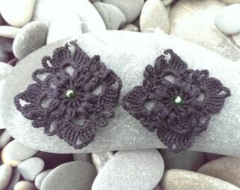 Earrings crochet. Earrings black.