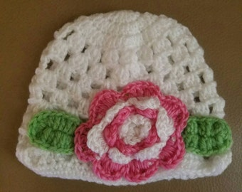 Sale!!! Baby White Wool Hat Pink Flower  Winter accessories Holiday Presents Photo Shoots