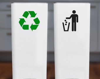 Recycle and Trash Sticker or Decal for Recycle Bin, Trash Can, Container - Symbols Only