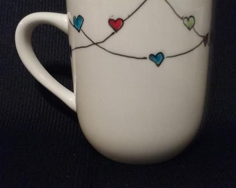 Hand-painted coffee mug, Heartstrings! Multicolor, free shipping!