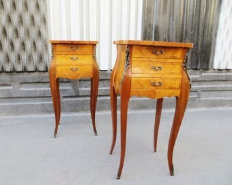 Pair of french antique Louis XV style side tables