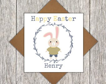 Personalised Easter Card ~ Easter Bunny Card ~ Personalised Children's Card ~ Cute Children's Easter Card ~ Cute Personalised Easter Card
