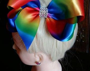 JoJo Siwa Inspired Large Rainbow Satin Hair Bow Clip 7 inch