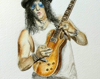 Slash A5 original watercolour painting - Guns N' Roses