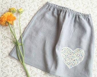 Rock linen skirt linen skirt with heart application linen size 98 heart 3 years