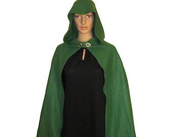 GREEN Fleece Hooded Cape Cloak,  Adult Child Toddler Halloween Costume, Cosplay LARP Hobbit LOTR Archer Elven