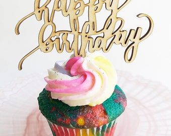 """Happy Birthday. CupCake Top. Laser Cut. Made with Raw Birch Wood. 1/8"""" Thickness. 13"""" Height by 13"""" Length."""