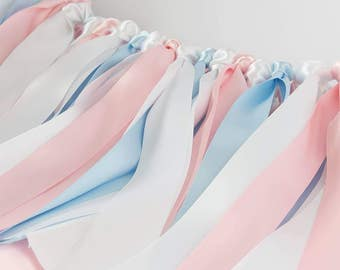 Baby Shower Ribbon Garland. Bunting Fabric Pink And Baby Blue. Nursery  Room. Mint