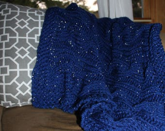 Royal Blue Cabled Diva Baby Blanket