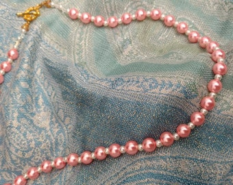 Pink and White Glass Pearl Necklace with Gold Toggle Clasp