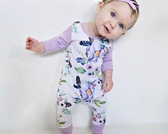 Floral boho harem romper, purple, feathers, bohemian, baby girl, toddler, long sleeve, short sleeve, or tank