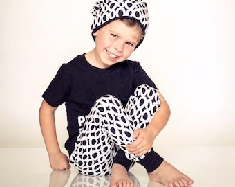 Monochrome slouch beanie and joggers (set or individual), baby boy, baby girl, leggings, pants, gender neutral