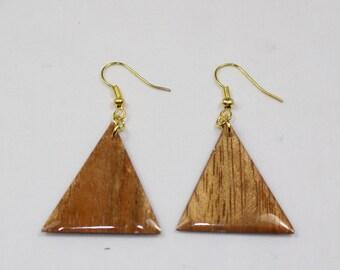 New Handmade Wood Triangular Earrings