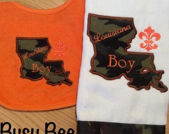 Appliqued Louisiana Boy Louisiana Girl Burp Cloth and Bib Set