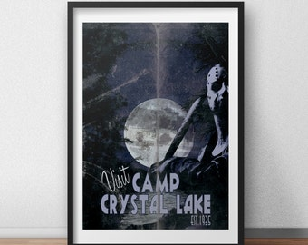 Jason Voorhees Friday the 13th, Crystal Lake Retro Tourism print / poster