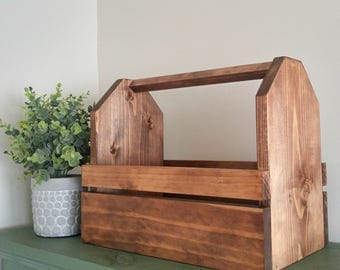 Wood Tool Box - Garden Tote - Wood Tote - Wood Planter - Wood Caddy
