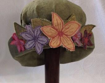 Hat sage green linen hat