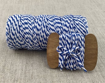 Navy Blue White Cotton Bakers Twine 5 yards, Gift Ribbon, Craft Ribbon, Color Ribbon, String, Gift Wrap, Gift Supplies, Packaging