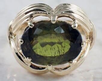 14K Yellow Gold Tourmaline Ring, Yellow Gold Ring, Tourmaline Ring, Vintage Ring