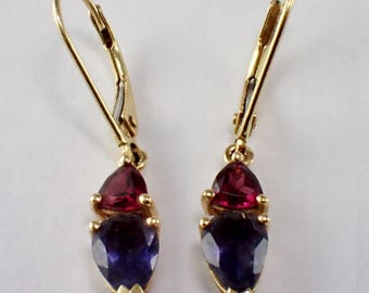 14k Yellow Gold Garnet and Iolite Earrings