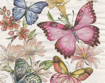 Butterflies decoupage paper napkins, set of 4 spring serviettes, papercraft supply, collage and mix media, butterfly decoupage napkins, g370