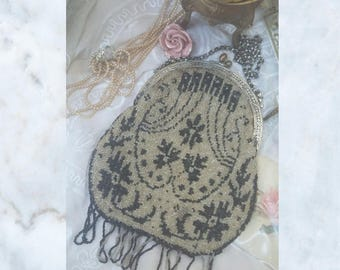 Beautiful 1920s Antique Glass Beaded Evening Bag with Silk Paisley Lining