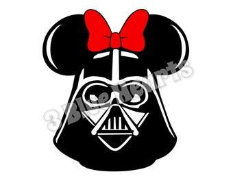 Darth Vader with Bow Mickey Head, Star Wars Mickey Head SVG dxf pdf Studio, Darth Vader SVG dxf pdf Studio, Darth Vader