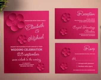 Printable Paper Flowers Wedding Invitation Set Template. Wedding Invitation Set Template. Pink Flowers Wedding Invitation.