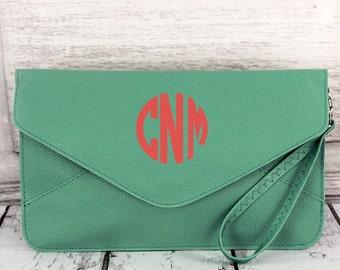Mint Monogrammed Envelope Clutch Handbag Purse Wristlet Bag