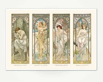Beautiful Art Nouveau Print - Alfons Mucha The Times of the Day / Les Heures du Jour