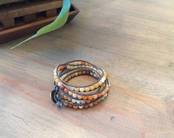 Leather and beaded wrap bracelet