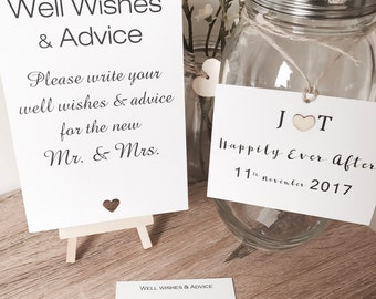 Well Wishes & Advice Jar for Wedding or Engagement