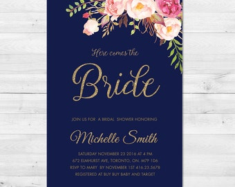 Bridal Shower Invitation, Bridal Shower Invite, Floral, Watercolor, Gold, Sparkle, Here Comes The Bride, Navy, Gold