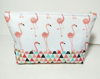 Flamingo Cosmetic Bag, Travel Pouch, Pencil bag, Toiletry Bag