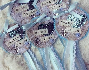 Babyshower rosette badge set - blue baby boy baby shower - vintage shabby chic - personalised - handmade