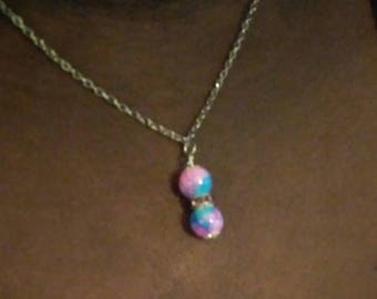 Pink and Blue Glass Bead Necklace