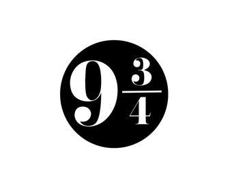 "Harry Potter ""9 3/4"" Decal - Harry Potter Sticker, Platform 9 3/4, Vinyl Decal"