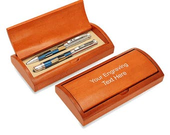 Personalized Black & Blue Dual Pen Set With Rosewood Box - S6341