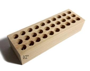 """1/2"""" holes Small metal stamp holder, wooden stamp block for metal stamps, Alphabet stamp holder, custom metal stamp holder, metal stamps"""