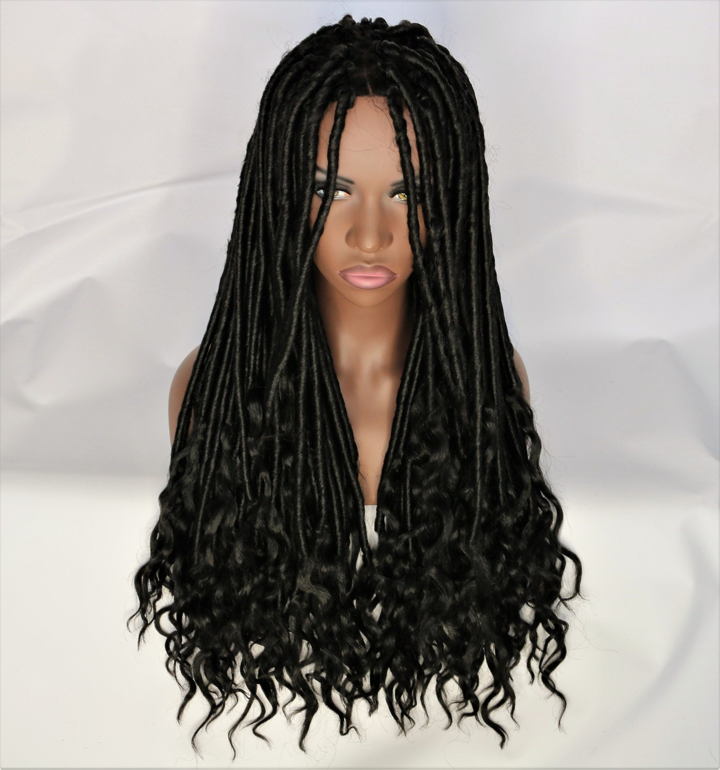 Crochet Goddess Locs : Jet Black Goddess Locs Crochet Wig W/ 4x4 Lace Closure