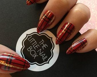Red tartan press on nails | stick on nails | glue on nails | false nails | fake nails