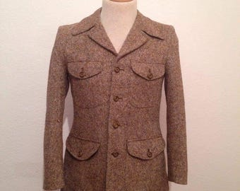 Norfolk Tweed Jacket Halfbelted Back Safari Jacket