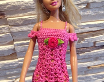 Pink crochet Barbie dress, Barbie clothes, Barbie summer dress, Doll dress, crochet Barbie dress, handmade Barbie dress