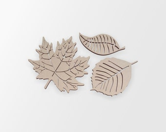 Wooden Leaf Group (3 leaves)- Cutout, Home Decor, Unfinished and Available from 12 to 42 Inches Wide
