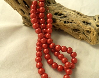 6 mm Glass Pearls, Ruby Red  (1504)