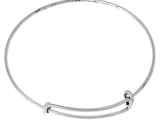 Pack of 3 Silver Plate Adjustable Bangle Bracelet - XS/S (1862)